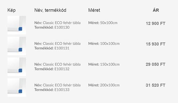Classic ECO FEHÉR filctollas táblák