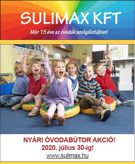 Sulimax Kft Óvodabútor akció 2020 július