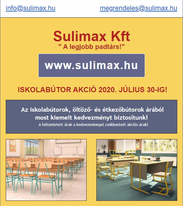 Sulimax Kft Iskolabútor akció 2020 július